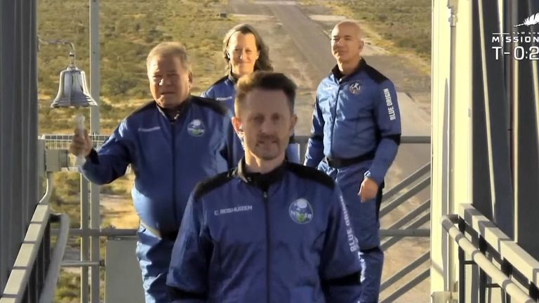 The Star Trek actor and his three fellow Blue Origin crew members each rang a bell before crossing to the capsule with Jeff Bezos today.