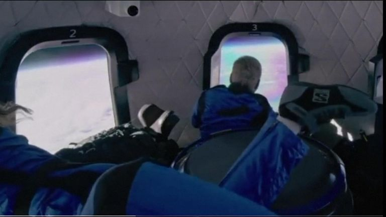 Video from inside the spacecraft showed the crew soaking in the view from space and the weightless effects of zero gravity.