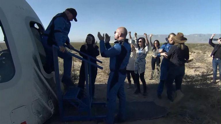 William shatner stepping off Blue Origin