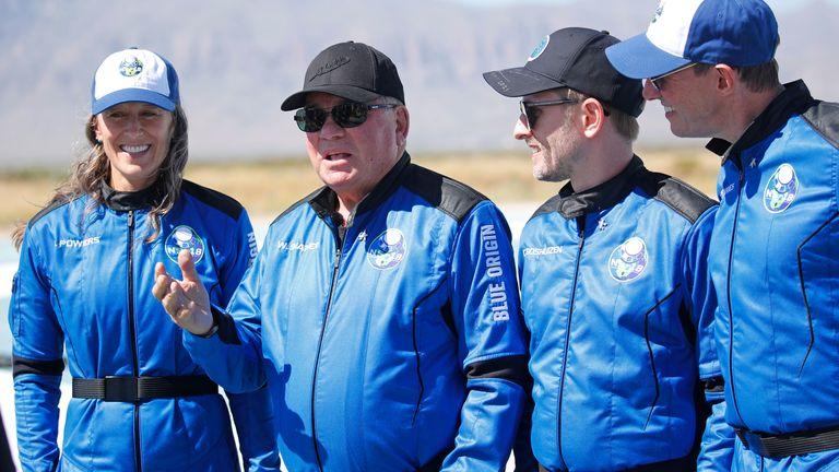 Shatner alongside his fellow astronauts