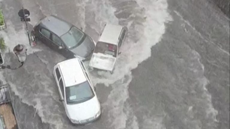 Heavy rainfall continues to cause havoc on Sicily.