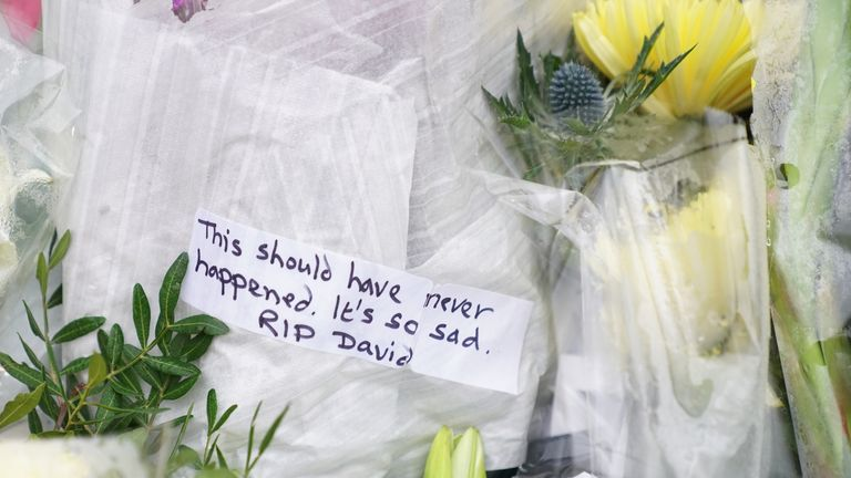 Flowers and tributes at the scene where Conservative MP Sir David Amess died