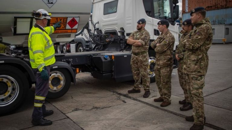 Soldiers have been training to deliver fuel to help the UK's delivery driver shortage. Pic: MOD