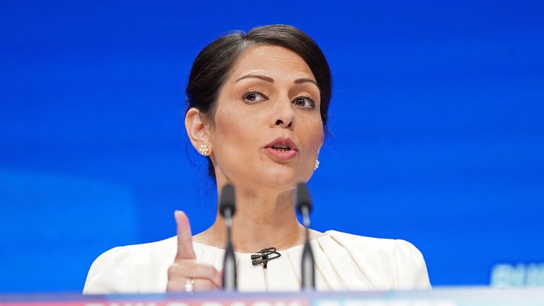 Home Secretary Priti Patel speaks at the Conservative Party Conference in Manchester. Picture date: Tuesday October 5, 2021.