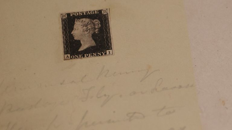 The World's first postage stamp, a Penny Black, is seen on display ahead of auction at Sotheby's in London