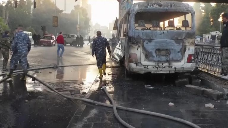 At least 14 people have been killed after an explosion destroyed a bus in the Syrian capital of Damascus.