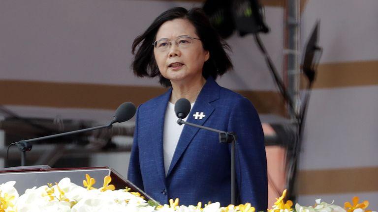 Taiwanese President Tsai Ing-wen giving a speech during National Day celebrations. Pic: AP
