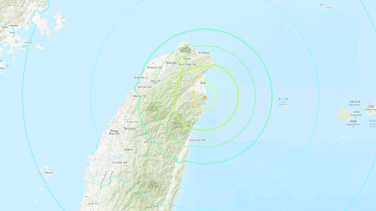 The epicentre was close to the capital, Taipei. Pic: United States Geological Survey