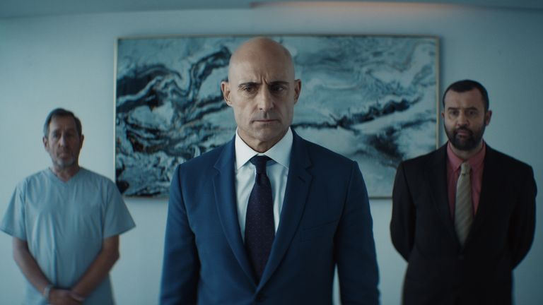 Michael Smiley as Dermot, Mark Strong as Daniel Milton and Daniel Mays as Lee Simmons in Temple series two. Pic: Sky UK