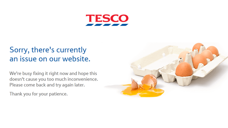 The Tesco website is displaying an error message