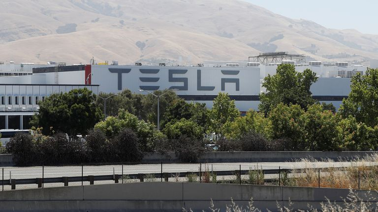 The Tesla factory is seen in Fremont, California,
