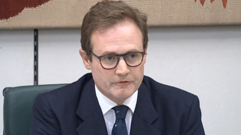 Committee chairman Tom Tugendhat asks a question as Foreign Secretary Dominic Raab (not pictured) gives evidence to the Commons Foreign Affairs Committee in London, about the Government's handling of the Afghanistan crisis. Picture date: Wednesday September 1, 2021.