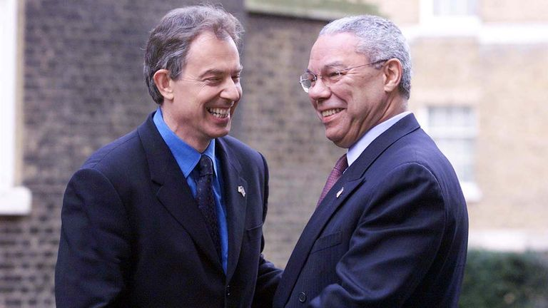 British Prime Minister Tony Blair (R) greets US Secretary of State Colin Powell outside 10 Downing Street in central London. The pair will be attending a ceremony to mark three months since the September 11 terrorist attacks in New York and Washington DC.