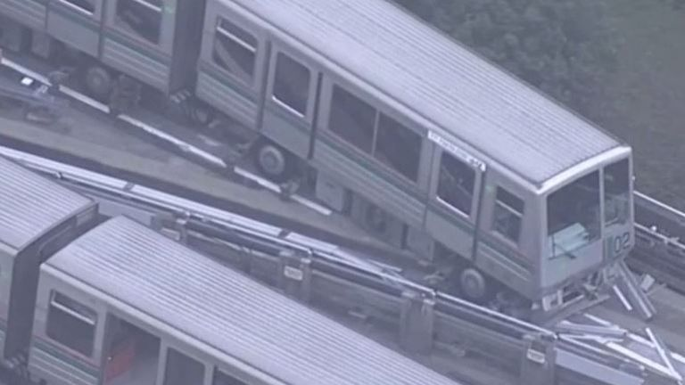 Train is derailed by quake in Japan