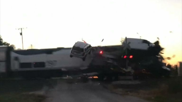 Four people were taken to hospital after a train collided with a car hauler in Oklahoma. Credit: Brandon Sampson