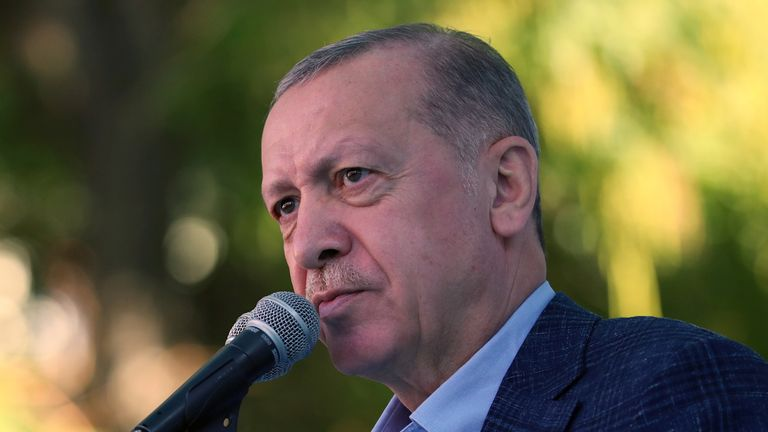 Turkish President Tayyip Erdogan addresses his supporters in Eskisehir, Turkey, October 23, 2021. Murat Cetinmuhurdar/PPO/Handout via REUTERS THIS IMAGE HAS BEEN SUPPLIED BY A THIRD PARTY. NO RESALES. NO ARCHIVES