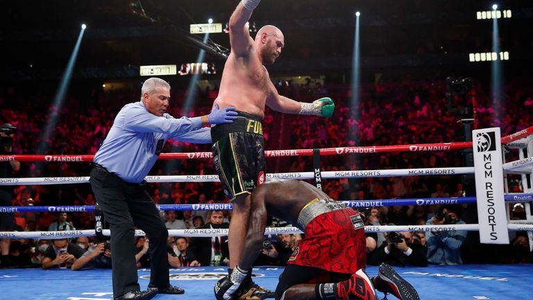 Tyson Fury v Deontay Wilder in Las Vegas Pic: AP