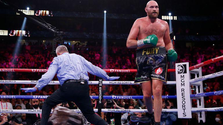 Fury ended the bout in the penultimate round. Pic: AP