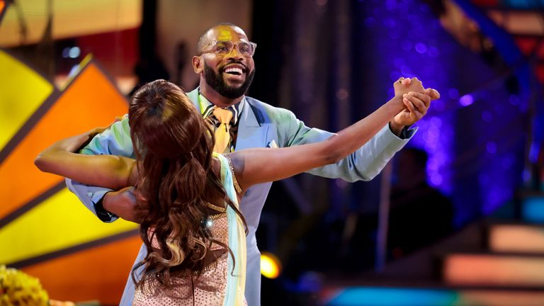Ugo Monye and Oti Mabuse during the second episode of Strictly Come Dancing 2021