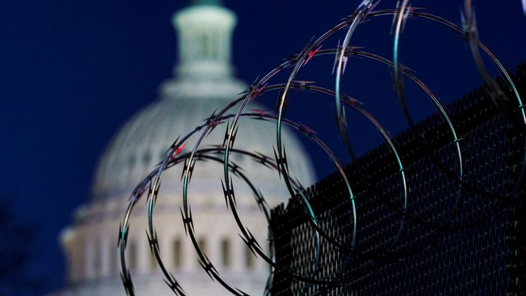 Razor wire outside Capitol Hill in Washington following the 6 January attack on the building