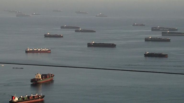 There is a backlog of cargo ships at the busiest port complex in the US