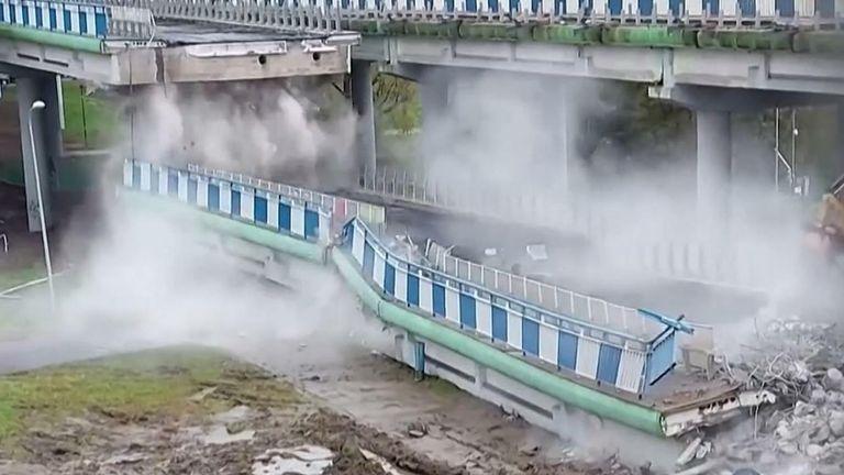 Eyewitness video showed a viaduct collapsing in northwestern Poland