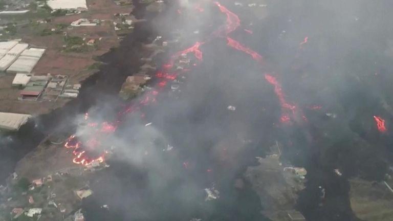 Drone footage reveals devastation caused by La Palma volcano eruption