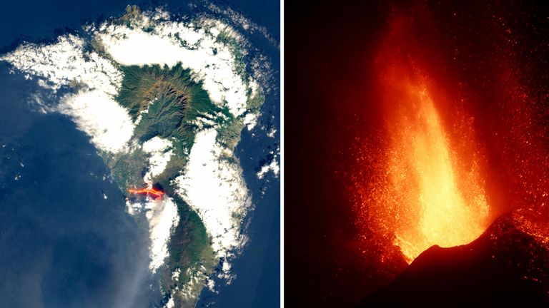 Satellite picture of lava flow following the eruption of a volcano on the island of La Palma
