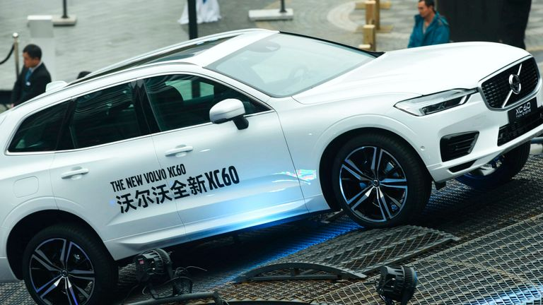 A Volvo XC60 is on display during an automobile exhibition in Hangzhou city, east China's Zhejiang province, 17 November 2017