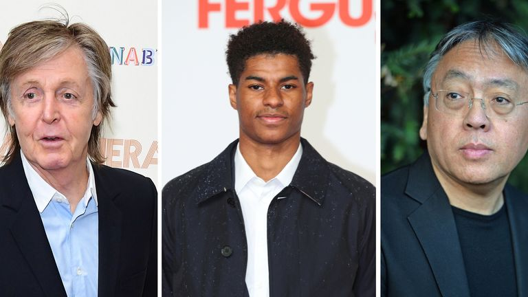 File photo of (left to right) Sir Paul McCartney, Marcus Rashford and Sir Kazuo Ishiguro who are among the people shortlisted for a book of the year award. The anticipated new book The Lyrics from Beatles star Sir Paul is among 13 titles vying to be crowned Waterstones Book of the Year. Issue date: Thursday October 28, 2021.
