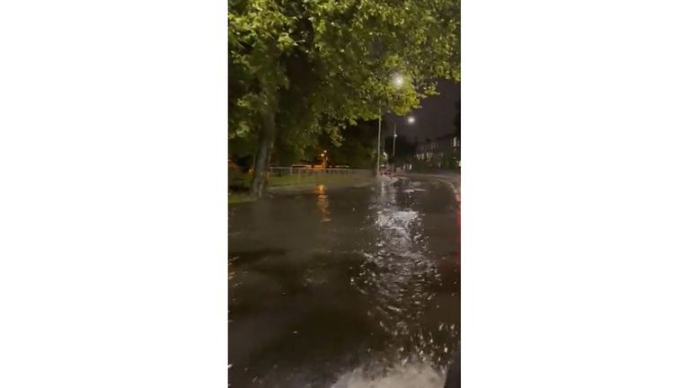 Picture taken with permission from the twitter feed of @londonwhispers of flooding on the A4 just past Hammersmith flyover after heavy overnight rain in London. Picture date: Tuesday October 5, 2021.