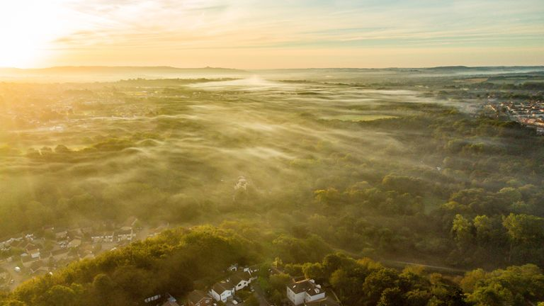 Low mist forms at sunrise over the east of Bristol as the UK leaves summer behind and enters astronomical autumn on the day of the equinox. Picture date: Tuesday September 21, 2021.