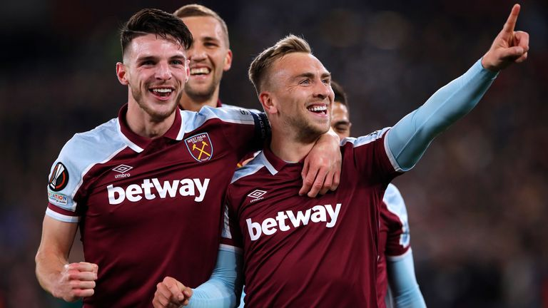 October 21, 2021 West Ham United's Jarrod Bowen celebrates scoring their third goal with Declan Rice Action Images via Reuters/Andrew Couldridge