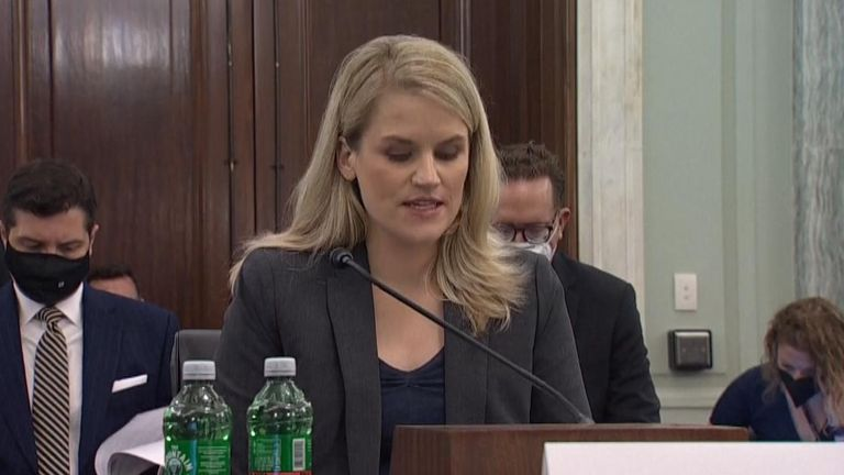 """Frances Haugen, a former Facebook employee, arrives to testify during the Senate Commerce, Science and Transportation Subcommittee on Consumer Protection, Product Safety, and Data Security hearing titled """"Children's Online Safety-Facebook Whistleblower,"""" in Russell Building"""