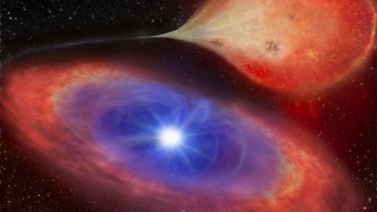 An artist's impression example of a white dwarf accreting as it draws in material from a companion star. Pic: Helena Uthas