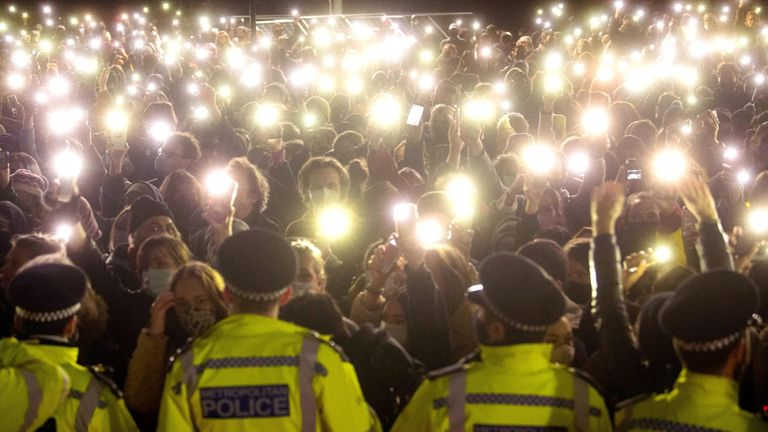 File photo dated 13/3/2021 of people in the crowd turn on their phone torches as they gather in Clapham Common, London, for a vigil for Sarah Everard. Former Metropolitan Police officer Wayne Couzens, 48, will appear at the Old Bailey in London, on the first day of a two-day sentence hearing after pleading guilty to the kidnap, rape and murder of Sarah Everard. Issue date: Wednesday September 29, 2021.