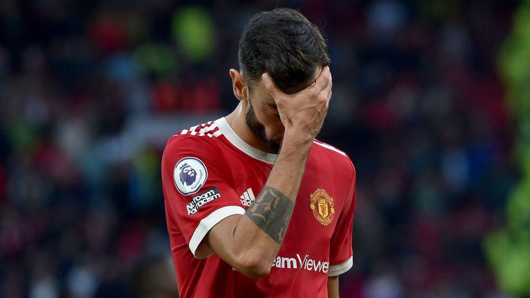 Bruno Fernandes shows his frustration at Old Trafford