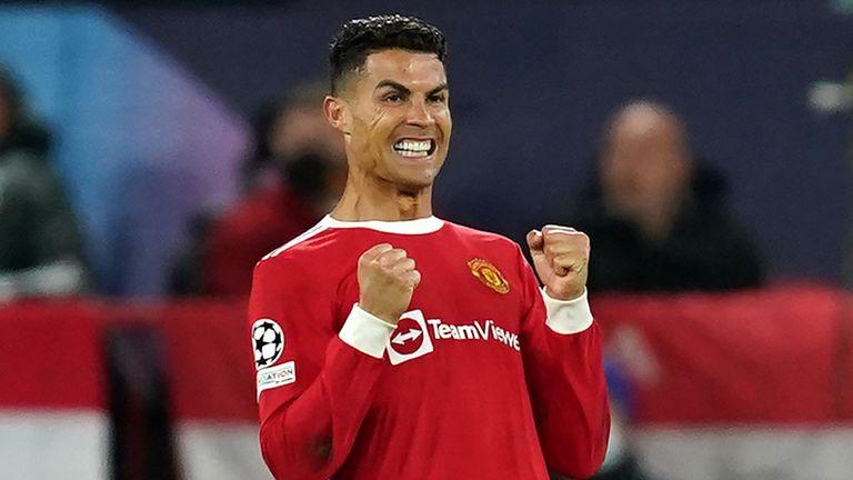 Cristiano Ronaldo celebrates after scoring Manchester United's winner against Atalanta