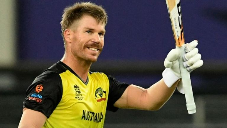 Australia's David Warner celebrates scoring a 31-ball fifty against Sri Lanka in the Super 12 stage of the T20 World Cup