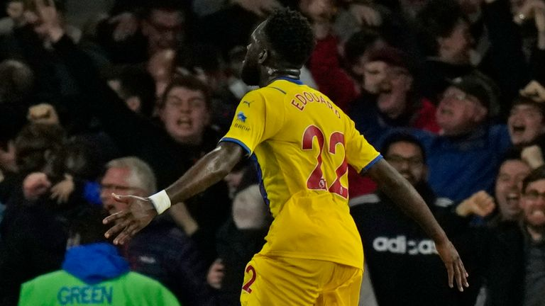 Crystal Palace's Odsonne Edouard celebrates after scoring his side's second goal during an English Premier League soccer match between Arsenal and Crystal Palace at the Emirates Stadium in London, England, Monday Oct. 18, 2021. (AP Photo/Alastair Grant)