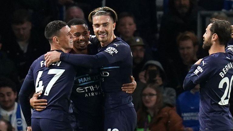Gabriel Jesus, Phil Foden and Jack Grealish celebrate Man City's third goal