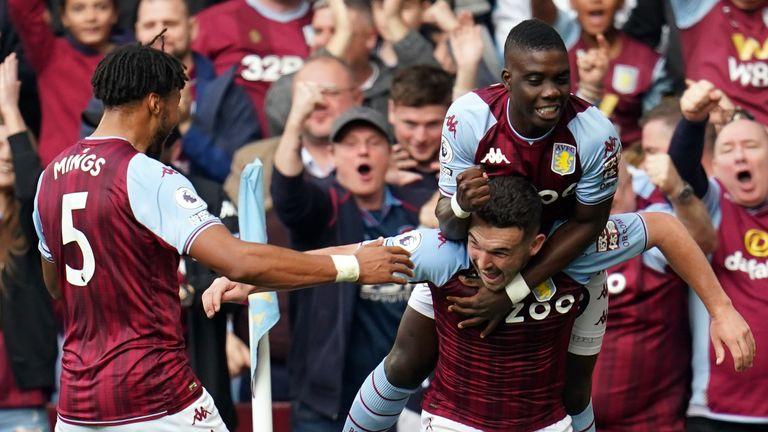 John McGinn celebrates after doubling Villa's lead