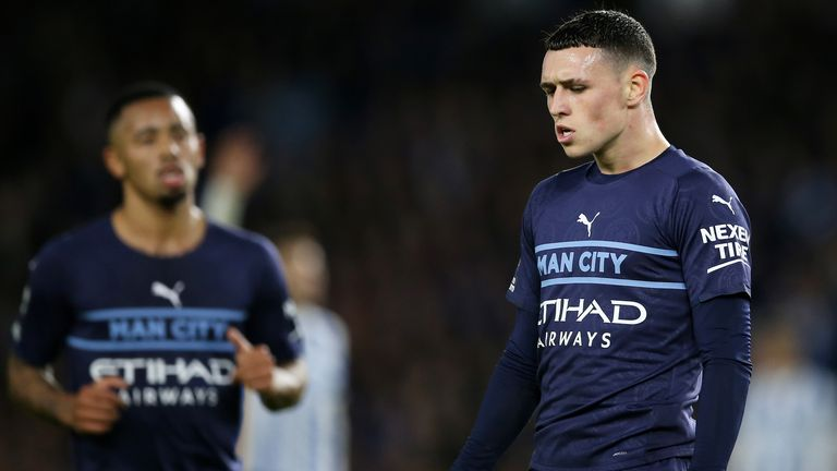 Phil Foden celebrates scoring Man City's second