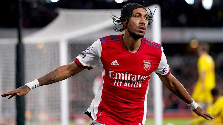 Arsenal's Pierre-Emerick Aubameyang celebrates scoring against Crystal Palace