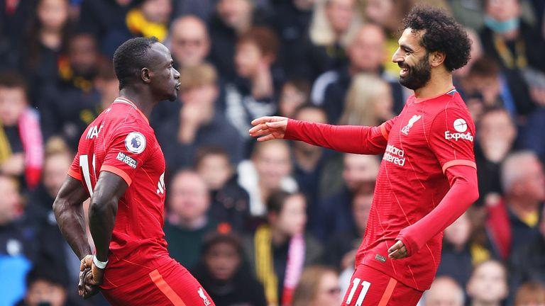 Sadio Mane celebrates his goal with teammate Mohamed Salah