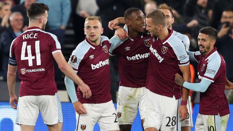 Issa Diop celebrates scoring for West Ham vs Genk