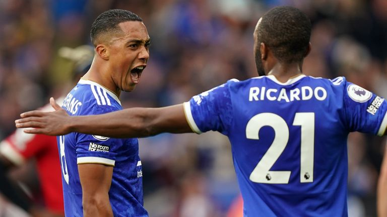 Leicester City's Youri Tielemans (left) celebrates his equaliser